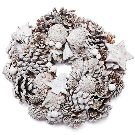 White Washed Pinecone Wreath   Christmas and Winter Sale