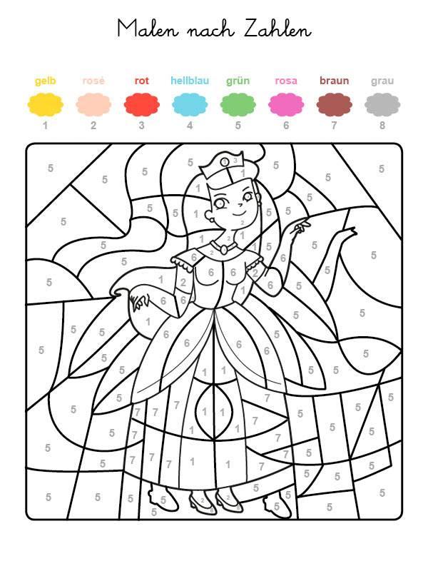 Kostenlose Malvorlage Malen nach Zahlen: Prinzessin ...