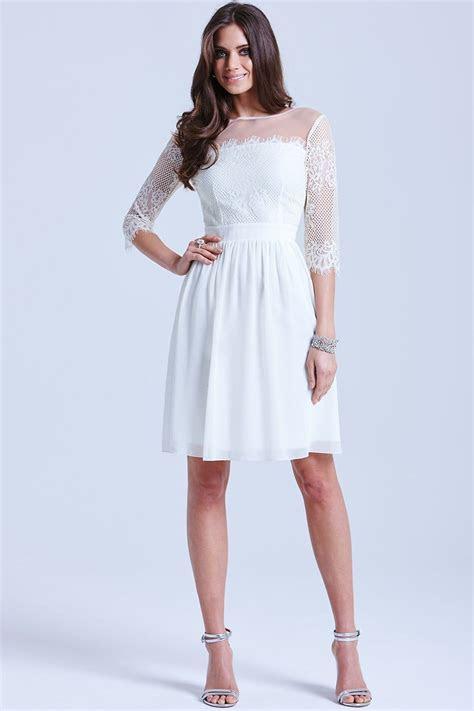White Lace Mesh Insert Box Pleat Dress