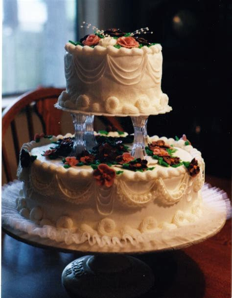 White Wedding Cakes   Two Tier with Gum Paste Flowers