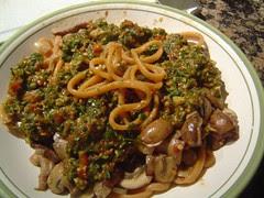 Pasta with vegan pesto and mushrooms