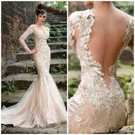 Champagne Wedding Dress 2015 With V Neck Sheer Open Back