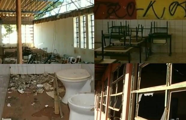 Montagem escolas Goiás (Foto: Reprodução/ TV Anhanguera)