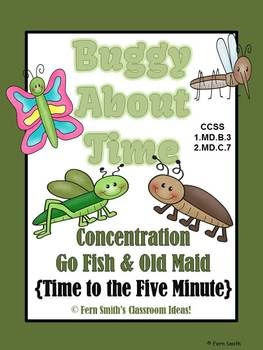 http://www.teacherspayteachers.com/Product/Buggy-About-Time-To-The-Five-Minutes-Concentration-Go-Fish-Old-Maid-CCSS-662762
