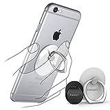 【Spigen】 スマホ リング, スタイルリング [ 落下防止 + スタンド機能 + 車載ホルダー ] iPhone6s / iPhone6s Plus / iPhone 6 / Galaxy / Xperia Z5 Z4 / Nexus 5X / スマートフォン・タブレット 対応 ケース 使用可能 (ホワイト シルバーリング SGP11760)