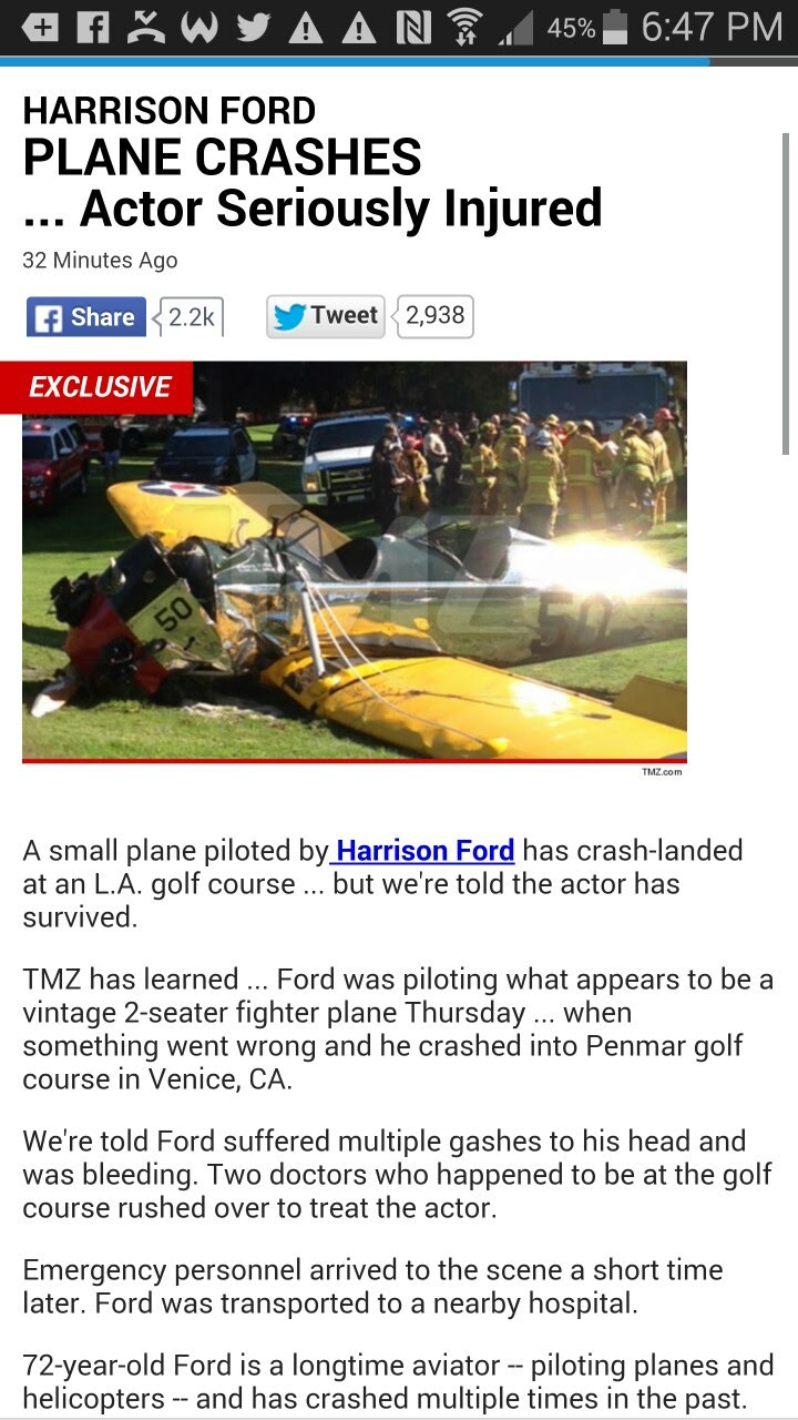 Harrison Ford has been seriously injured in a plane crash.. this is a developing story