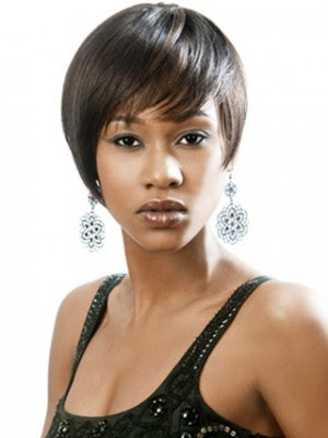 Chic Short Cut With Side Bangs Capless Wig African American Wigs P4