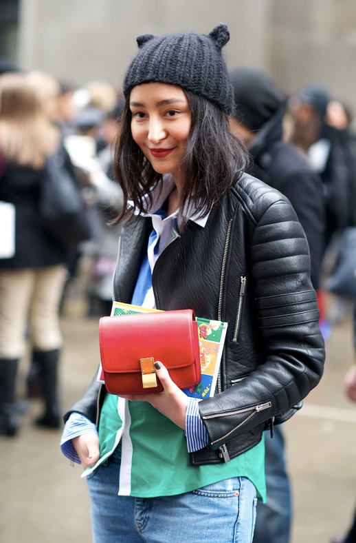 LE FASHION BLOG CAT EAR HATS STREET STYLE FASHION WEEK FASHION MONTH EUGENIA KIM FELIX CAT KNIT BEANIE RED LIPS BEAUTY SHORT HAIR CELINE LEATHER JACKET COLOR BLOCK SHIRT DENIM JEANS SMALL RED CELINE BOX BAG KAREN BLANCHARD WHERE DID U GET THAT