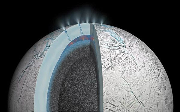 An artist's concept of water plumes being emitted from the surface of Saturn's moon Enceladus.