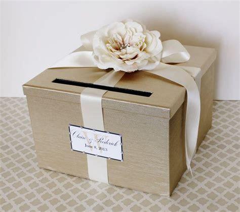 Wedding Card Box Champagne Gold Ivory Money Holder