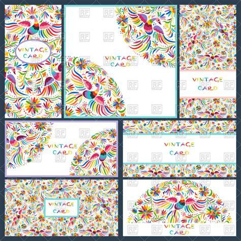 Artistic creative business cards with Floral Mexican