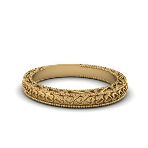 Heart Filigree Milgrain Womens Wedding Band In 18K Yellow