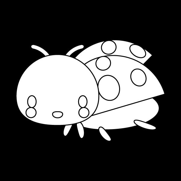 塗り絵に最適な白黒でかわいいてんとう虫の無料イラスト商用フリー