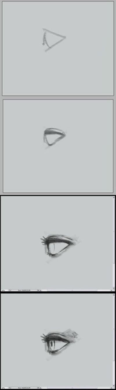 How to draw eye side view