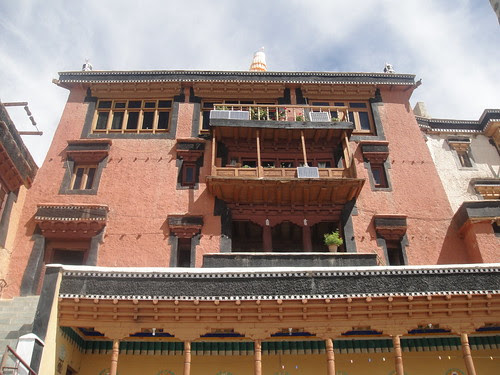 Solar panels on the old walls of Thiksay Monastery