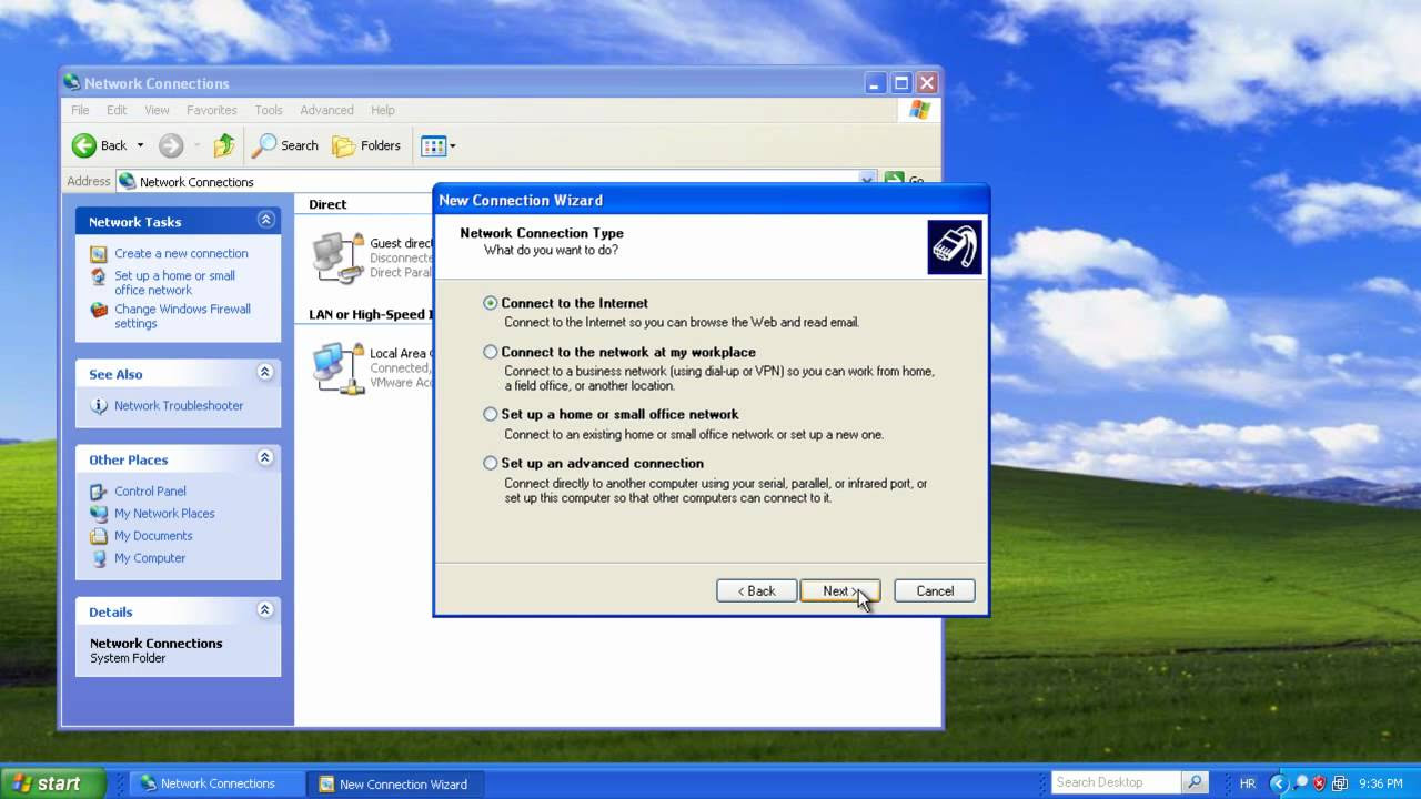 Windows XP - Dial-up and Direct connections - YouTube