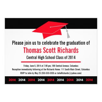 Graduation Invitation | Modern Red Black 2014
