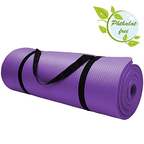 Yoga Mat - HARMONY 180 cm x 60 cm x 1.5 cm Yogamat for Pilates Gymnastics Exercise Workout extra thick non-slip, Colour:Vivid Violet
