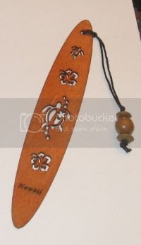 Love the cutout turtle & flowers on this wooden bookmark from Hawaii!