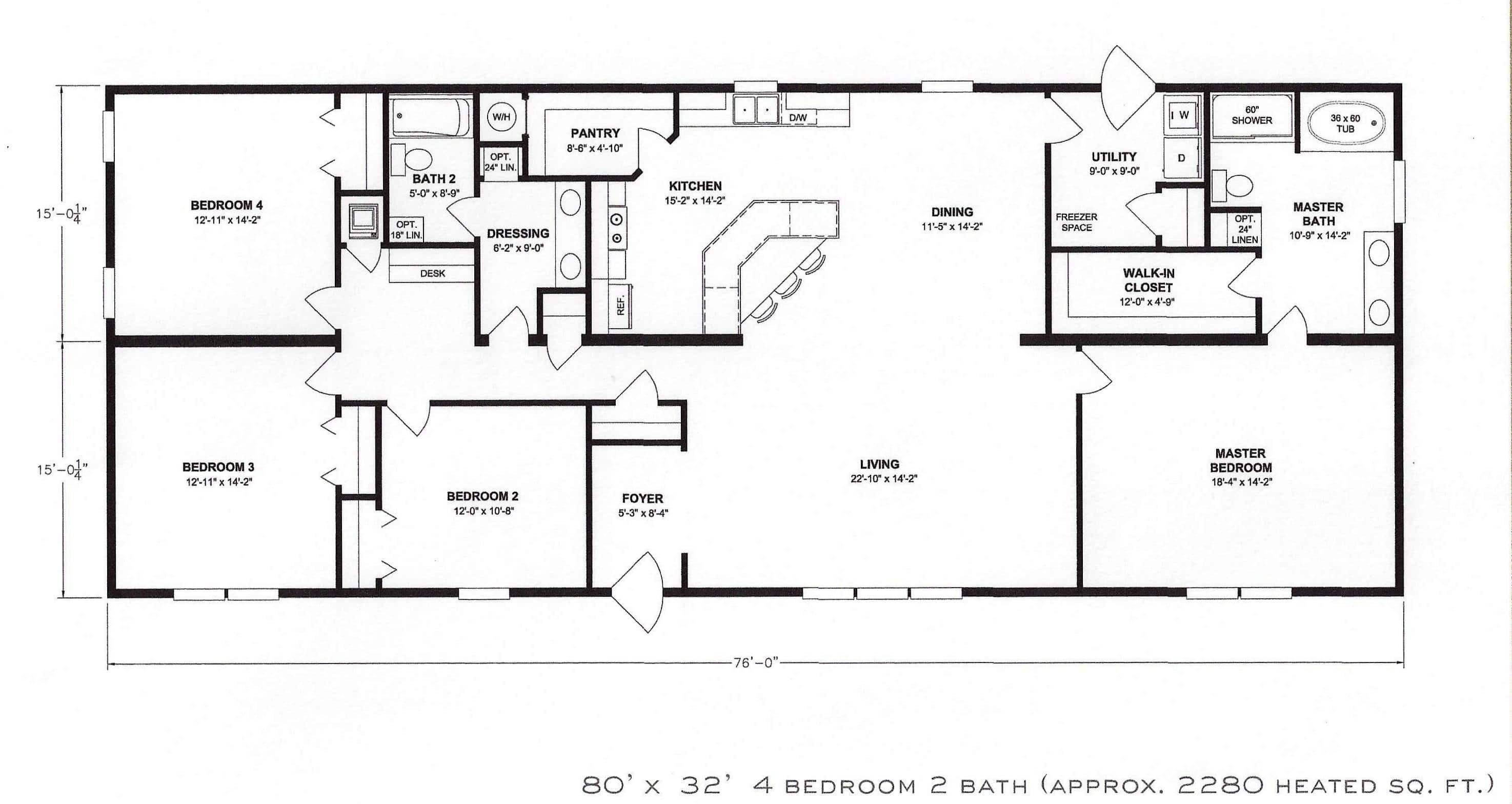 4  Bedroom  Floor  Plan  F 1001 Hawks Homes  Manufactured