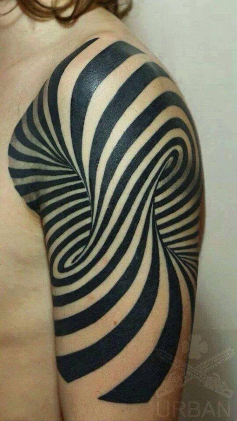 Black Ink Spiral 3d Tattoo On Half Sleeve