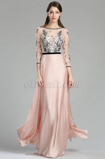 pink black embroidery long dress with sleeves