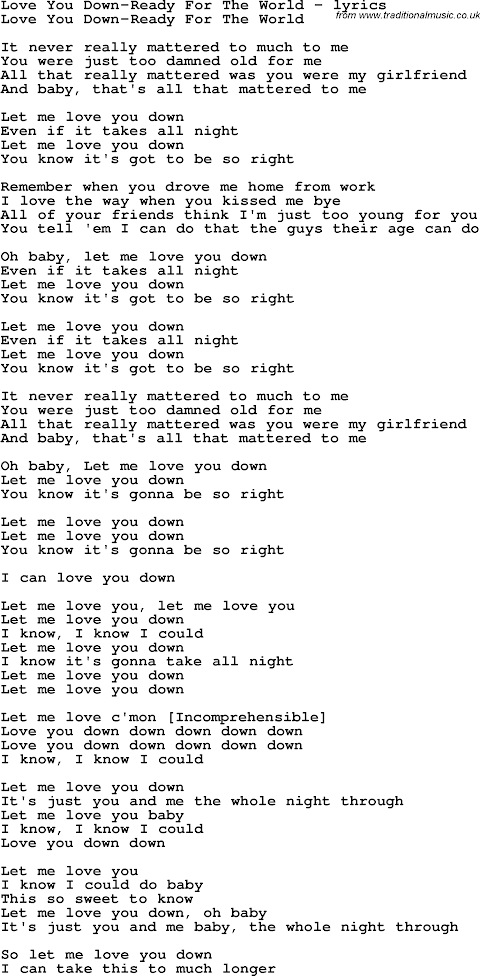 Love You Down Lyrics