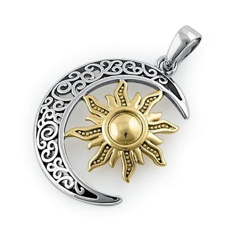 Sterling Silver Two tone Bohemian Sun and Moon Pendant