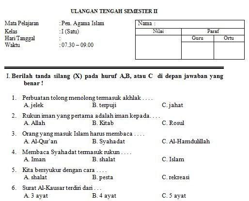 Contoh Soal Dan Jawaban Tentang Agama