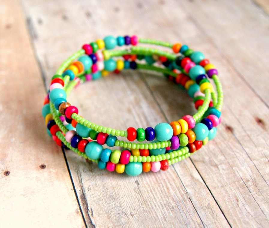 colorful beaded memory wire bracelet aqua and green rainbow - pixiestrinkets