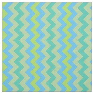 Spring Sunshine Chevron Pattern Blue Green Yellow Fabric