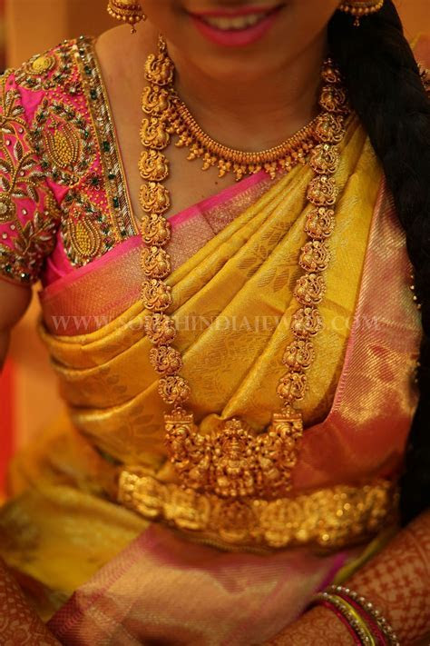 South Indian Bride in Gold Temple Haram & Vadanam
