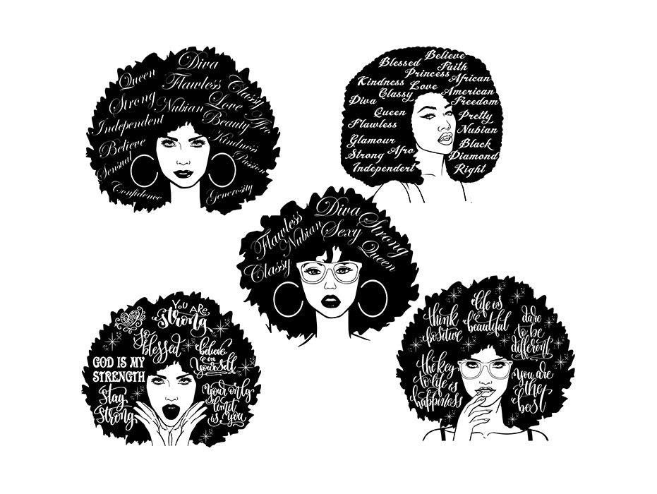 Download Bundle Afro Queen Woman SVG African American Ethnicity ...