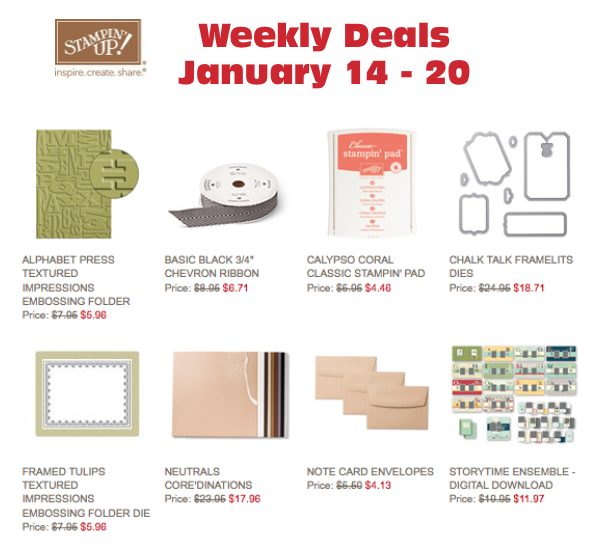 stampin up weekly specials thru jan 20 2014