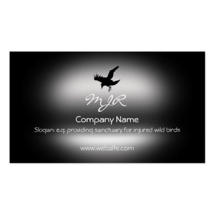 Monogram, Flying Raven Bird, metallic-effect Business Card Template