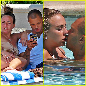 Jeremy Meeks & Chloe Green Kiss & Cuddle By the Pool in L.A.