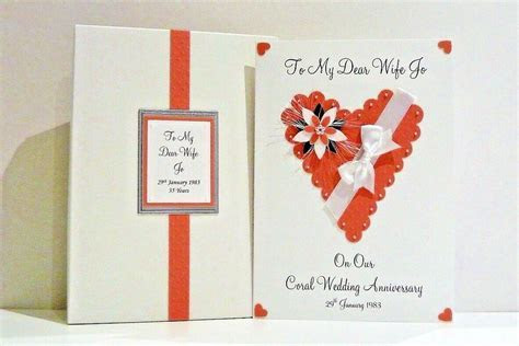 35th Coral Wedding Anniversary Card Wife/Husband/Friends