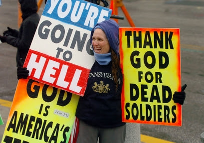 Shirley Phelps-Roper, a member of the Westboro Baptist Church of Topeka, Kan., protests in front of the Pennsylvania Statehouse Thursday, March 2, 200
