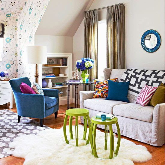 Love this colorful room - add a few patterns in pillows/rugs/throws to spice things up