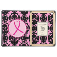 Pink Ribbon Black Damask Breast Cancer Awareness iPad Air Cover