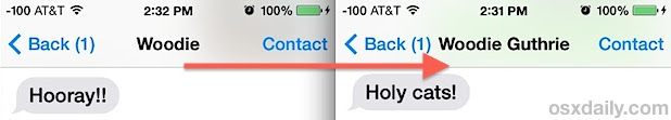 Before and after Messages name change in iOS 7