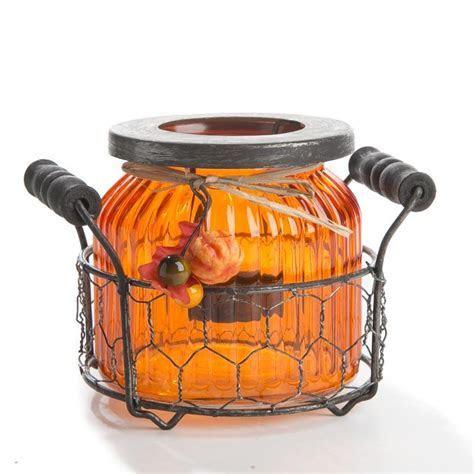 Orange Fall Harvest Glass Jar Tea Light Candle Holder
