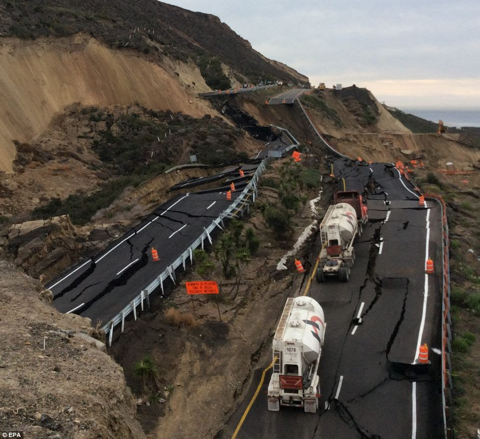 Caved-in construction: The landslide caused gaping holes in the road up to 40 feet deep and 200 feet long