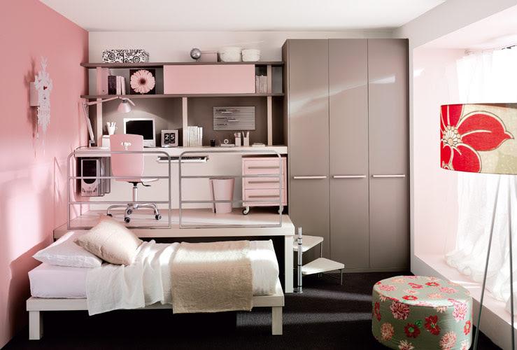 Bedroom: Creative Loft Bedroom Interior In Pink Decoration Of ...