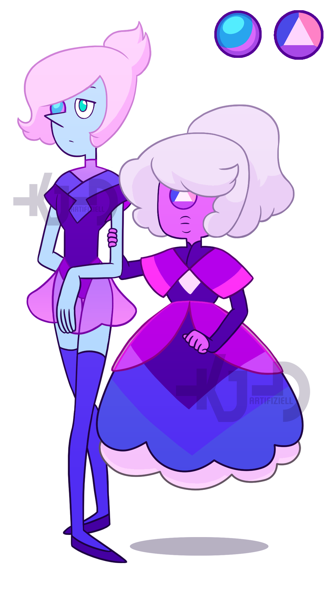Winza Sapphire and her seeing-eye Pearl! (who I've decided is an Abalone Pearl) Also since I barely use the gems I have, I've decided if anyone wants to adopt these two they can, I'll adopt them...