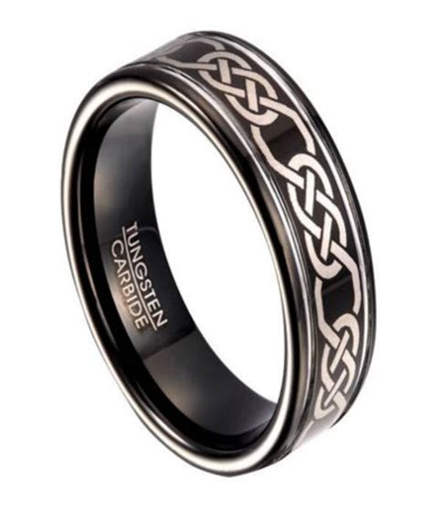 black tungsten wedding band  men  celtic knot design