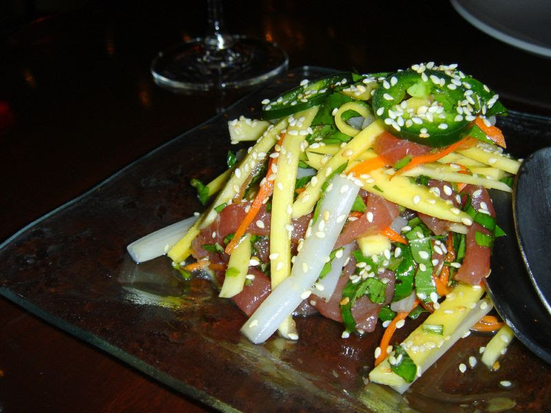 Tuna Ceviche with Green Mango, Lotus Rootlets and Basil-Nuoc Mam Salsa