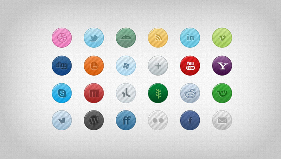 26 Colorful Social Media Icons (PSD)