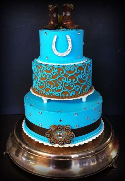 Teal and brown western wedding cake by Iris Candelaria