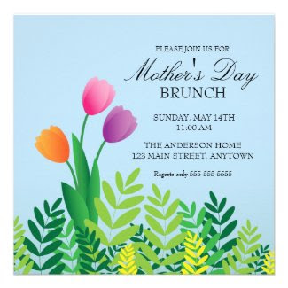 Colorful Tulips Mother's Day Brunch Announcements